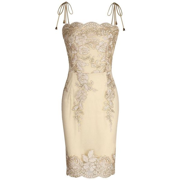 Golden Embroidery Spaghetti Strap Bodycon Mini Dress ($33) ❤ liked on Polyvore featuring dresses, short dresses, spaghetti strap dress, embroidered mesh dress, bodycon cocktail dresses and short bodycon dresses