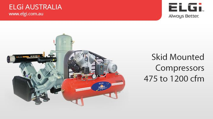 Oil Free Reciprocating Air Compressors-7.5-11 kW / 34-45 cfm  Oil Free Reciprocating Air Compressors-7.5-11 kW / 34-45 cfm meets the requirements of industries that need quality air without contamination like medical complexes, and food processing. Get more details @ http://www.elgi.com.au/skid-mounted-compressors-900-to-1200-cfm/  OilFreeCompressors AirCompressors ReciprocatingAirCompressors
