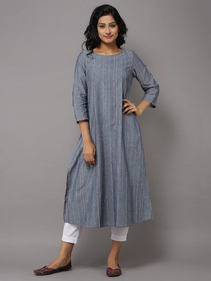 Blue Cotton Kurta with Multi Color Stripes by the Wooden Closet