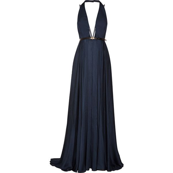 Jason Wu Belted silk-chiffon halterneck gown ($2,465) ❤ liked on Polyvore featuring dresses, gowns, navy, long evening gowns, petite long dresses, navy gown, petite dresses and long evening dresses