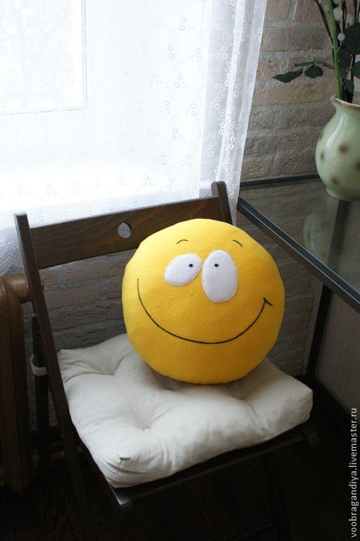 Купить Подушка Смайл - смайлик, смайл, подушка, подарок, жёлтый, прикольный подарок, радость