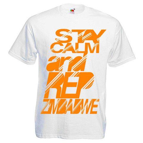 RIBBON D - STAY CALM AND REP ZIMBABWE (SCARZ) White/Black Print T-Shir – Manicawear Ltd U.K