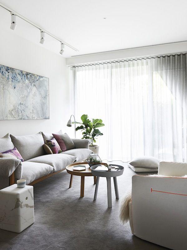 Grey sheer curtain