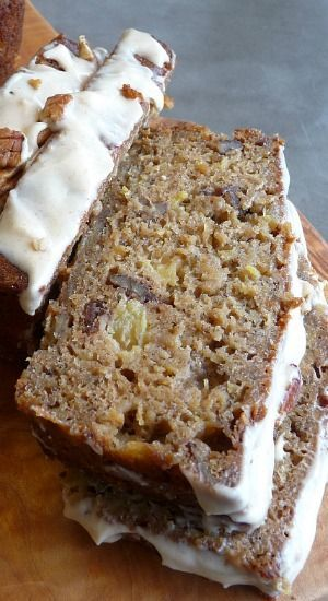 Hummingbird Bread with Browned Butter Cream Cheese Glaze _ This bread is very moist & full of bananas, pineapple & pecans. The glaze is out of this world!!