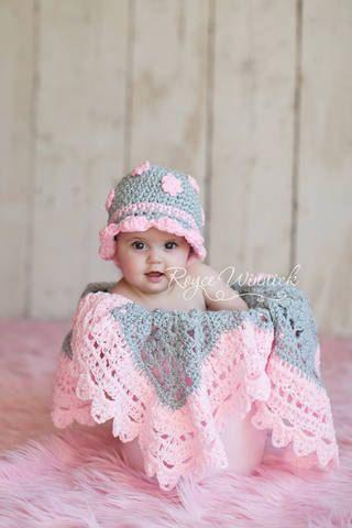 Cappello grigio con rosa fiori cappello di BabiesBugsAndBees