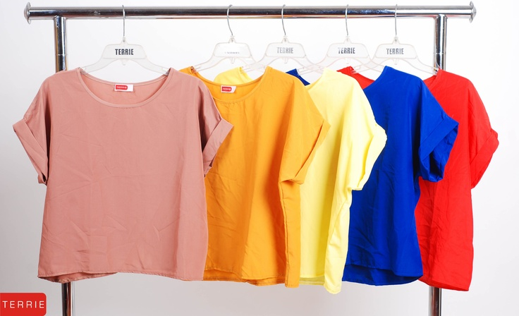 TERRIE WOMAN: BLOUSE PLAIN  CODE NAME: CHECKY  COLOR: MOCHA, MUSTARD, YELLOW, BLUE, & RED  SIZE: FREE SIZE  PHP 560    www.terrieonline.com