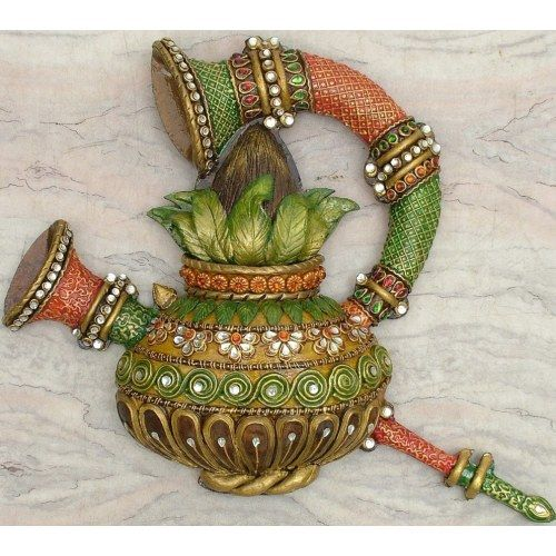 Online shopping for kalash shehnai wall mural art wall n for Clay mural designs