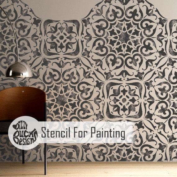 Mysuru Stencil Indian Bohemian Wall Furniture Floor Craft Etsy Stencil Painting Stencil Crafts Stencil Furniture