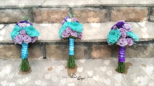 Turquoise and purple bouquets. Floral Design & colouring of flowers  by www.pinkenergyfloraldesign.co.za