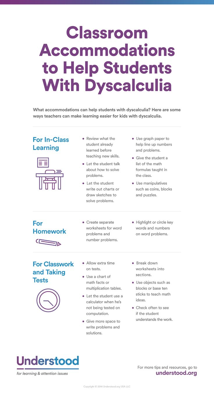 Check out these ideas for classroom accommodations for students with dyscalculia.