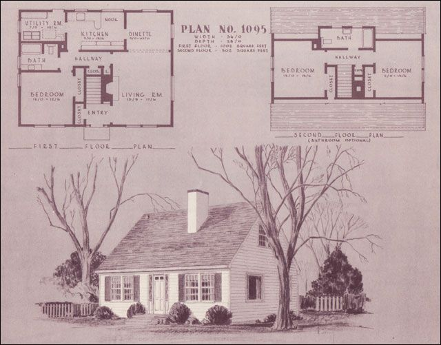 1948 home building plan service 1095 vintage house for 1950s cape cod house plans