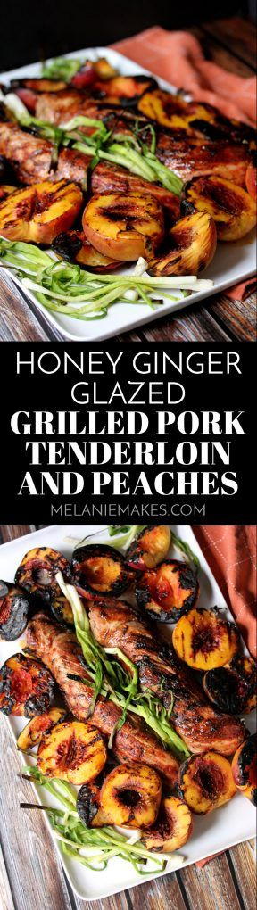 This Honey Ginger Glazed Grilled Pork Tenderloin and Peaches is the perfect sweet and savory dinner combination. A sticky, sweet honey glaze spiked with fresh ginger is drizzled over perfectly grilled pork tenderloin and charred green onions and peaches. A complete meal made entirely on the grill!