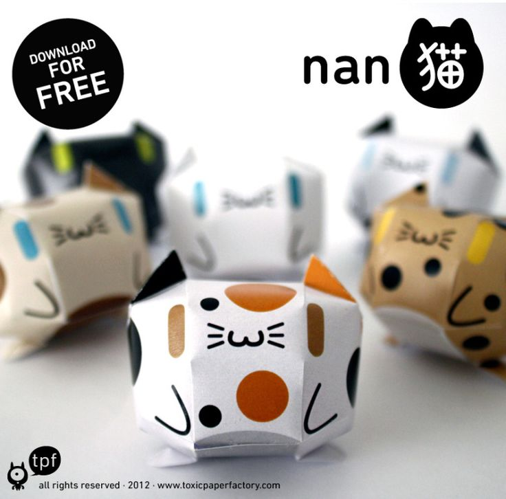 Would be good for a tiny present in a letter :) Free template for quirky, Japanese paper cats.