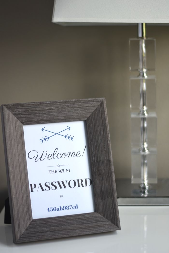 Guest Wi-Fi Password ... welcome text would be behind the glass and would use a dry erase marker to write the password, so it can be changed often or as needed.