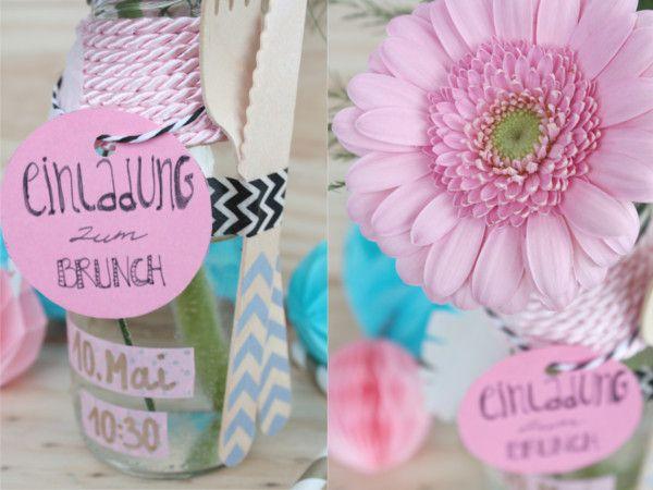 Muttertag Brunch Einladung in der Flasche 9