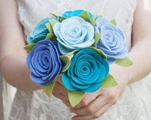 "Felt Bouquet - Wedding Bouquet - Brides Maid Bouquet - ""Blue Bird"""