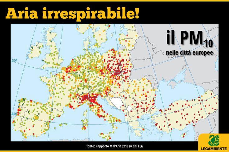 Quei puntini rossi? Sono le città che sforano, e di molto, i limiti del PM10. L'area della pianura Padana purtroppo si conferma critica. Non basta agire a livello di singola città, contro l'inquinamento atmosferico servono interventi strutturati a livello nazionale che agiscano sulle fonti: industria, energia, riscaldamento, trasporti.  Guarda tutti i dati, nel dossier Mal'aria 2015 -> http://www.legambiente.it/co...