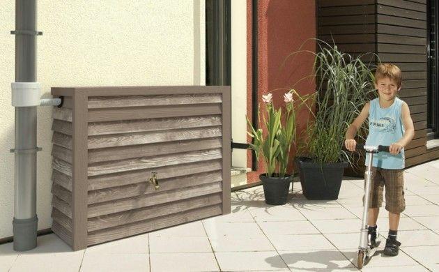 Regentonnen Regenwasserspeicher Regentonne eckig Holzverkleidung