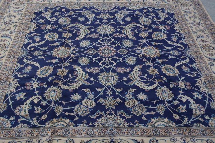 L284, Oriental Vintage Area Square Persian Design Nain Blue Carpet 9'6 x 9'10 #Handmade #TraditionalPersianOriental
