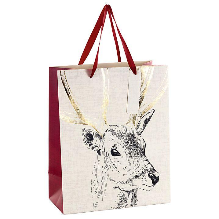 Buy John Lewis Ruskin House Stag Gift Bag, Medium Online at johnlewis.com