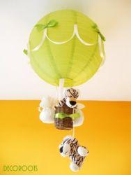 lustre enfant bébé Didou le singe thème jungle vert anis et marron chocolat. - Enfant bébé/Luminaire enfant bébé - decoroots