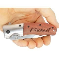 Palmetto Wood Shop offers personalized laser engraved pocket knives for sale online. The model TF876 wood handle knife is the perfect gift for any guy.