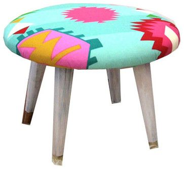 Midcentury Modern Neon Tribal Stool. Summer Home Decor. Scandinavian Tapered Leg modern ottomans and cubes
