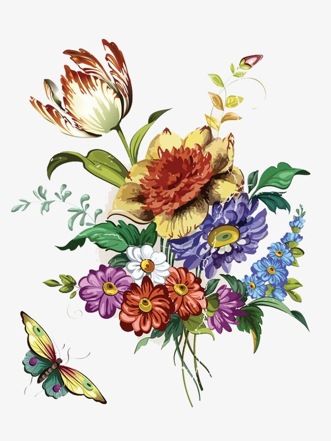 Retro Fashion Hand Painted Floral Patterns Vector Flower Hand