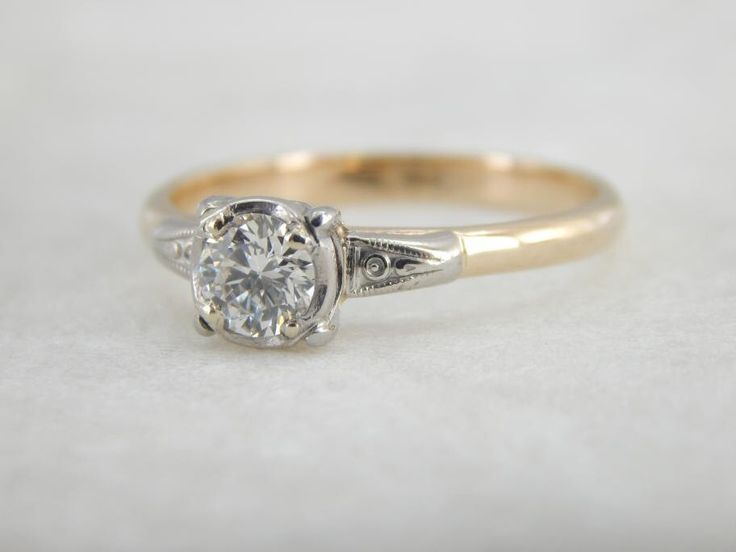 Mid Century Elegant And Simple Diamond Engagement Ring 3L2KAZ P by MSJewelers