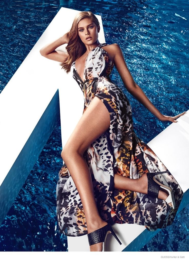 A glam maxi dress with a plunging neckline and high slit for Guess by Marciano