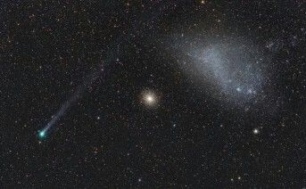 Comet Lemmon, a globular cluster and the Small Magellanic Cloud, captured together in one photograph.