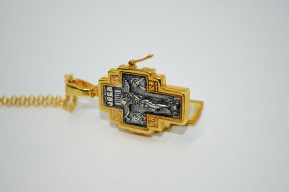 Jesus Cross Holy Wood Case/925. Sterling Silver/Gold Plated