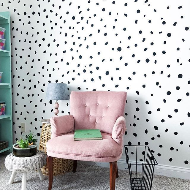 Big White Polka Dot Wall Decals Placed In A Pattern On A Grey Wall In A Children S Room With A Bed Cabine Wall Stickers Bedroom Polka Dot Walls Kid Room Decor