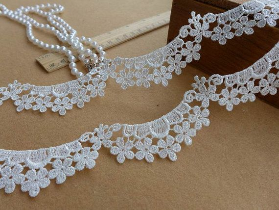 White lace trim with sakura flower motif for wedding, victorian, headbands, jewelry lace
