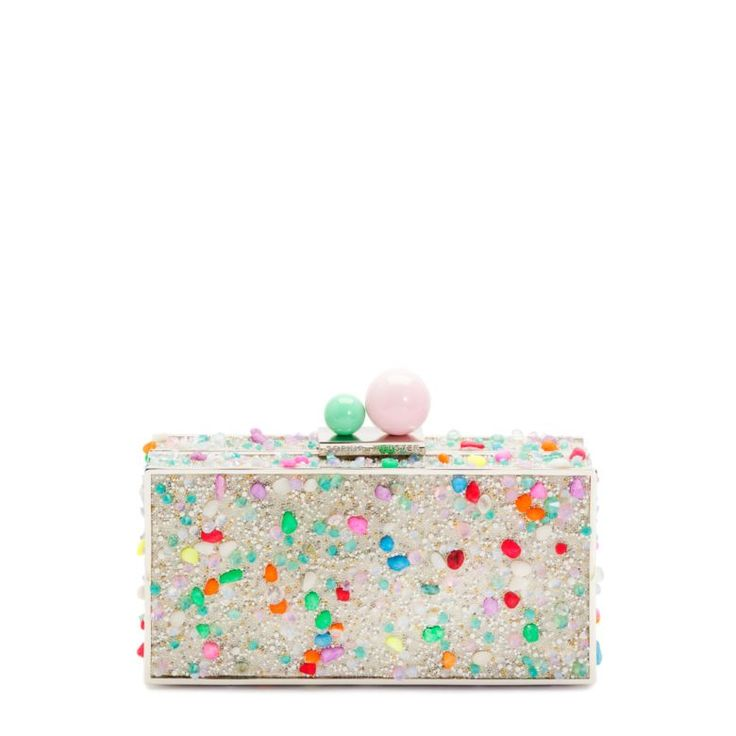 CLARA Crystal Clutch | Sophie Webster | Dreamy Crystal Minaudiere embellished w/multicoloured beads & crystals and finished with shamrock baby pink ball clasp.100% Pvc/ Resin Stone Crystals With Metal