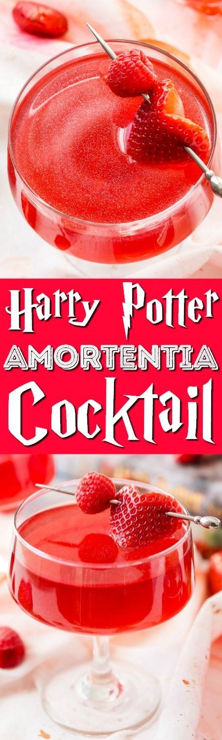 This Harry Potter Amortentia Cocktail is made with cranberry juice, vodka, grenadine and pearl dust! It's the perfect sweet and shimmery love potion to serve up for Valentine's Day or any other special occasion.
