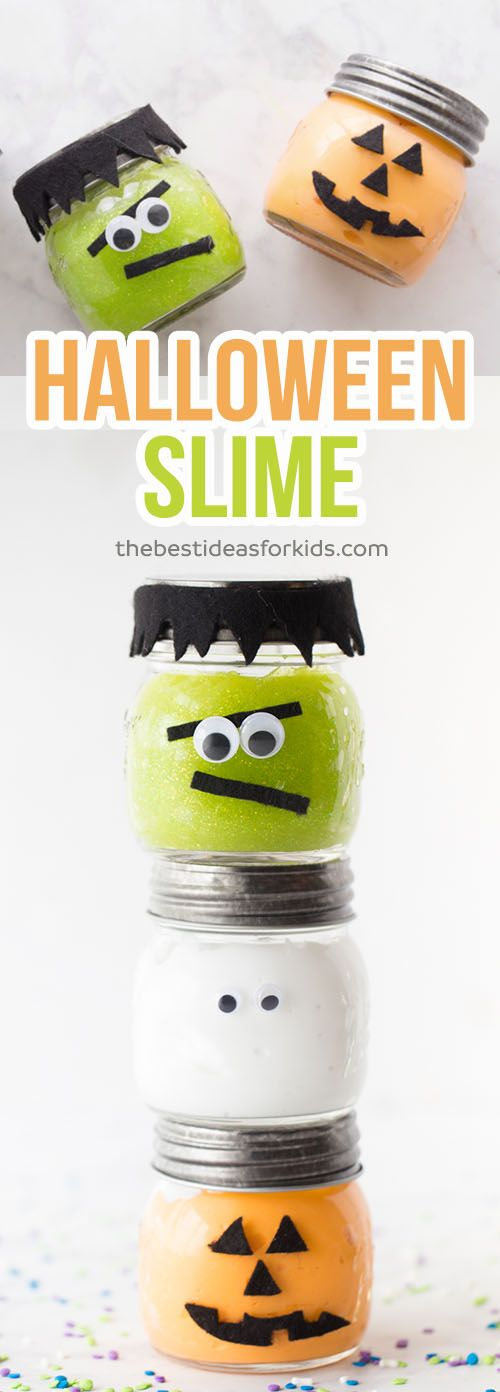 These Halloween Slime Jars are so fun to make as a Halloween craft or to give as a non-candy treat. Kids will love playing with this slime! This slime recipe is no borax and easy to make! Only 3 ingredients.   Halloween Slime ~ Pumpkin Slime ~ Frankenstein Slime ~ Ghost Slime ~ Green Slime ~ Orange Slime~ Halloween Party Ideas ~ Halloween Non-Candy Ideas ~ Slime Recipe  via @bestideaskids