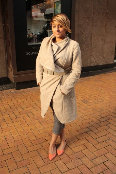 The lovely Tina wearing a coat by Oasis, Fire trap trousers and House of fraser shoes