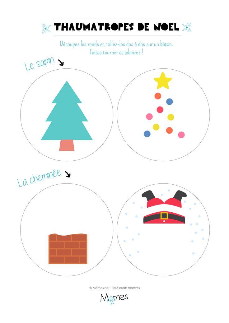 Deux thaumatropes à imprimer sur la thématique de Noël pour créer des illusions d'optiques avec un sapin et Père Noël. Toujours amusant !