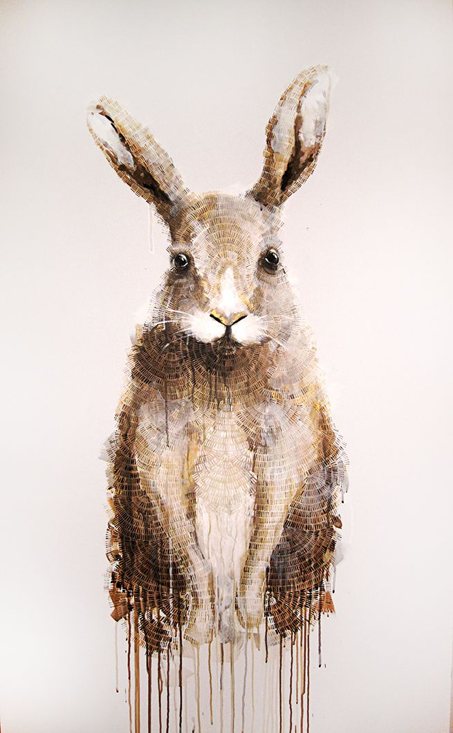 'The Hare (Standing)' Mixed media on stretched canvas 94cm x 155cm painting by Michael Cain- Gnashing Teeth (gnashingteeth)
