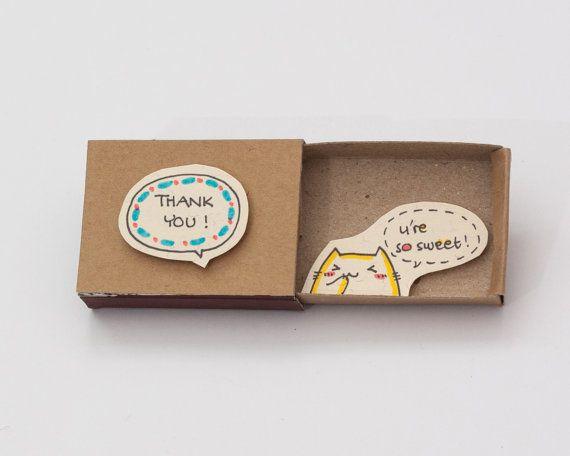 "Gracias tarjeta ""Eres tan dulce"" Matchbox / Gretting tarjeta / caja de regalo / caja del mensaje / LV034"