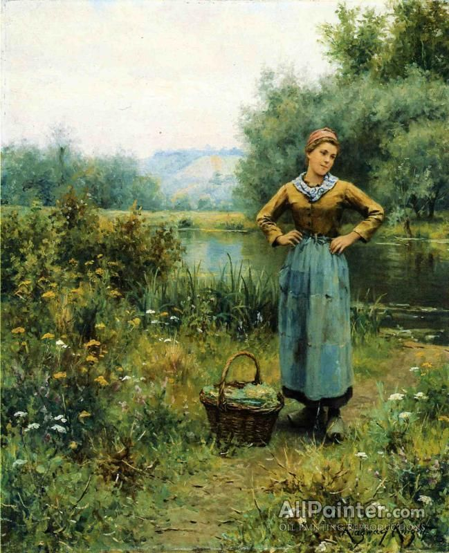 Daniel Ridgway Knight,Girl In A Landscape oil painting reproductions for sale