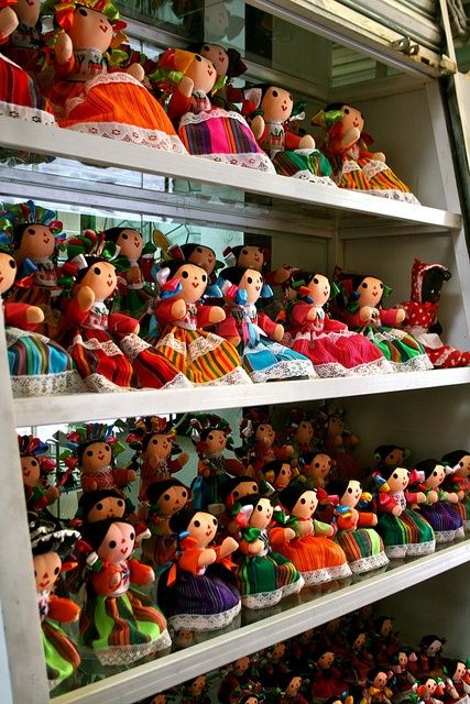 "http://www.artesaniasmarymar.com     ""China La Poblana"" dolls in La Ciudadela artisan market in Mexico City, Mexico. (Photo: http://CollazoProjects.com)"