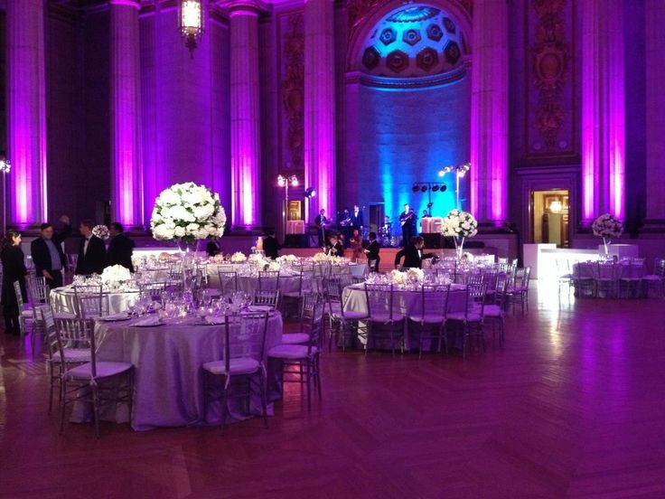 Purple White And Silver Wedding Reception Purple And Blue Lighting White Pinspots White Tall