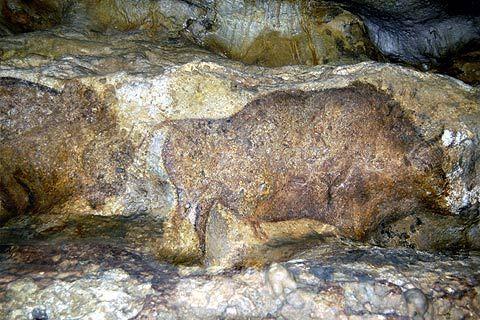 Prehistoric painting in the Font de Gaume Cave - La grotte ornée de Font de Gaume (Les Eyzies, Dordogne) a des parois contenant plus de 200 gravures et peintures magdaléniennes.