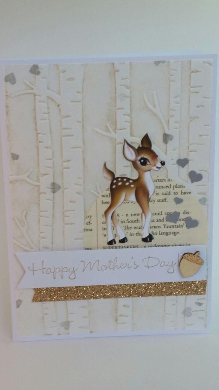 Deer happy mothers day handmade card