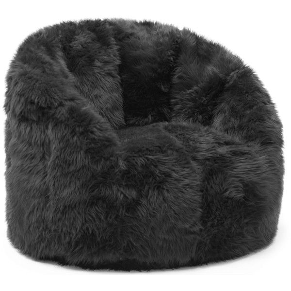 Comfort Research BeanSack Big Joe Milano Faux Fur Bean Bag Chair ($135) ❤ liked on Polyvore featuring home, furniture, chairs, black, black chair, oversized bean bag chairs, circular chair, colored bean bags and black bean bag