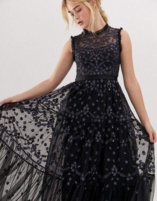 cc1e6eebe90 Needle   Thread embroidered lace maxi gown with high neck in ...