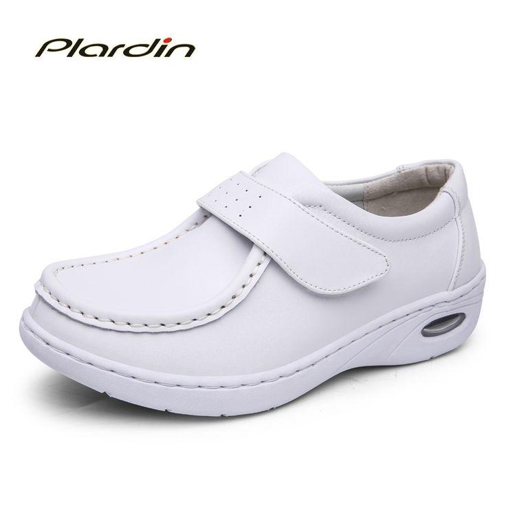 plardin New Four Seasons Woman Pure white Nurse shoes women Platform soft Hook&Loop Air cushion casual genuine leather shoe #Affiliate