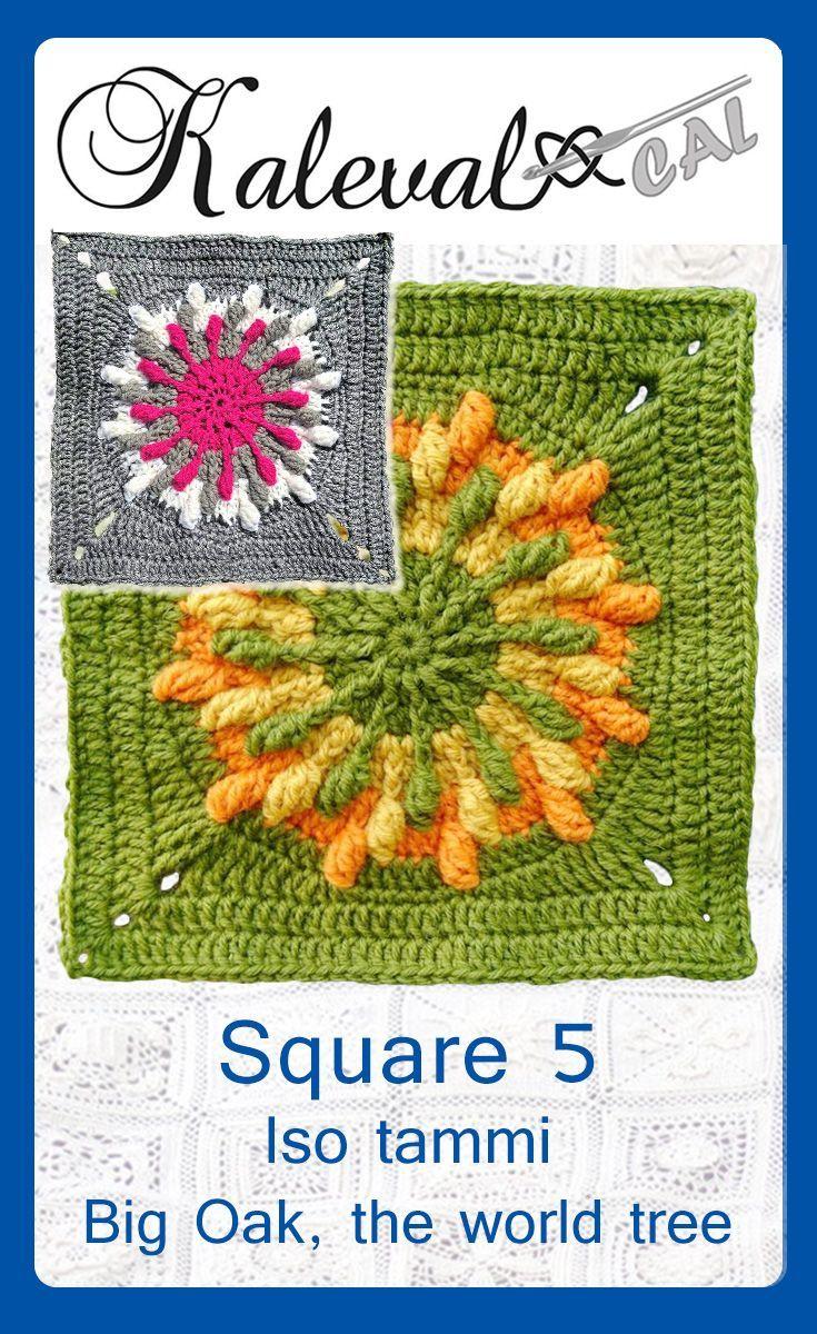 Kalevala CAL crochet-along blanket square 5. Design Maija-Leena Siuvatti #crochet #crochetsquare